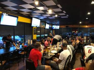 <p> August 11, 2018, Dick's Wings viewing party - Jacksonville Sharks Playoff Viewing Party at Dicks Wings Players join Fans to enjoy the NAL Playoffs</p>