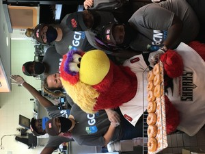<p> June 24, 2020 GCM's Free Donut Day Presented By the Jacksonville Sharks - Chum made alot of friends at Dunkin Donuts on Southside Blvd, as they worked together with Gift Certificates & More to provide FREE Donuts to the Community.</p>