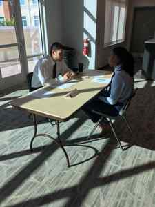<p> October 22, 2019 Sharks at Flagler College - The Jacksonville Sharks attended Flagler College to help senior sports managment majors with their mock interviews for their class.</p>