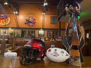 <p> January, 22, 2019, Seven Bridges Grille & Brewery - The 2019 National Arena League Championship trophy spent the week with our partners at Seven Bridges Grille & Brewery.</p>
