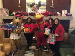 <p> 	December, 5, 2019, Chum Gets Festive - Jacksonville Sharks' Chum and Jacksonville Jumbo Shrimps' Southpaw attended the Deerwood Country Club Ugly Sweater Contest for the Jacksonville Chamber of Commerce!</p>