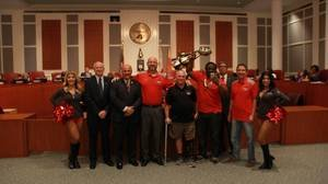 <p> October 25, 2017, City Council - The Sharks were recognized by the City Council after a championship season.</p>