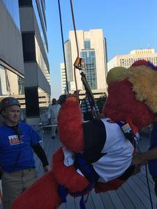 <p> November 16, 2017, Chum Over the Edge Fundraiser - Chum scaled the Omni Hotel for the Over the Edge fundraiser for the North Florida Council of the Boy Scouts of America.</p>