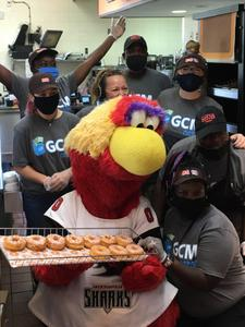 <p> The Sharks teamed up with Gift Certificates & More to give out free donuts at Dunkin' Donuts on Southside with our mascot, Chum.</p>