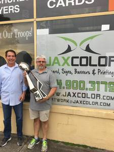 <p> December 22, 2017, JaxColor - Jacksonville Sharks bring the 2017 NAL Championship Trophy to official partner, JaxColor.</p>